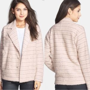 Elodie Shadow Striped Double Breasted Peacoat